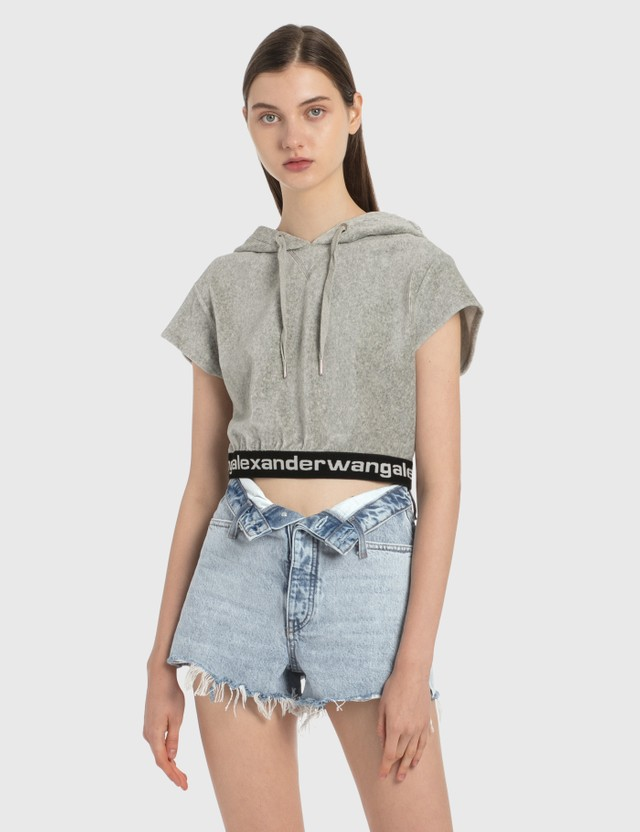 Alexander Wang.T Corduroy Cap Sleeve Hoodie Heather Grey Women