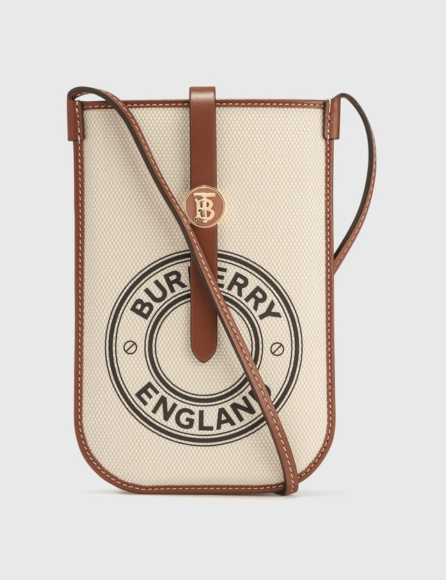 Burberry Logo Graphic Cotton Canvas Phone Case with Strap White / Tan Unisex