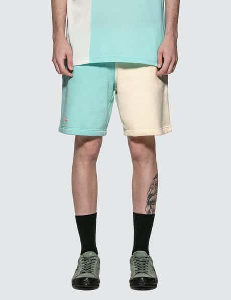 라코스테 라이브 X 골프 르 플레르 컬러블록 플리스 반바지 - 라이트블루 크림 (남녀공용) GOLF le FLEUR* x Lacoste Colorblock Jersey Shorts