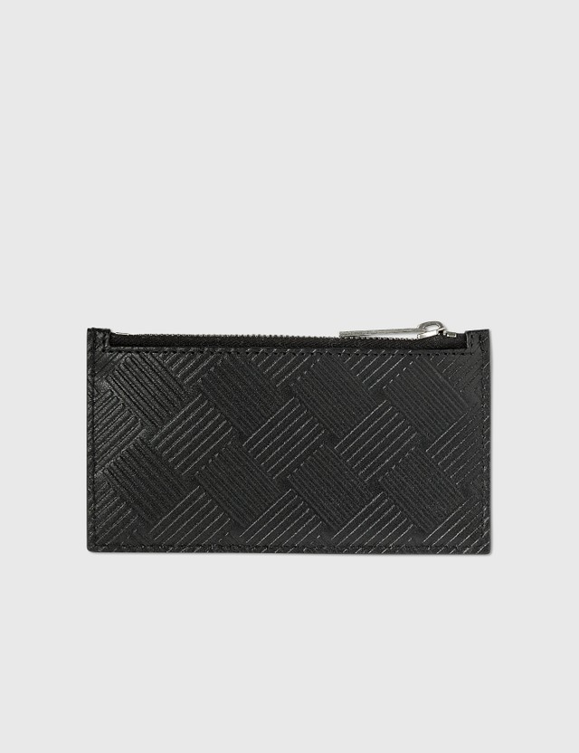 Bottega Veneta Intrecciato Textured Leather Zippered Card Case Black-silver. Men