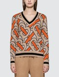 Burberry Monogram Intarsia Wool V-neck Sweater Picutre