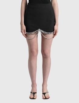 Area Draped Crystal Scallop Mini Skirt