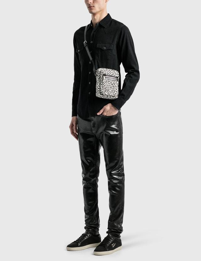 Saint Laurent Zebra Crossbody Bag White/black Men