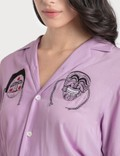 Kirin Masks Embroidery Bowling Shirt Lilac  Lilac Women