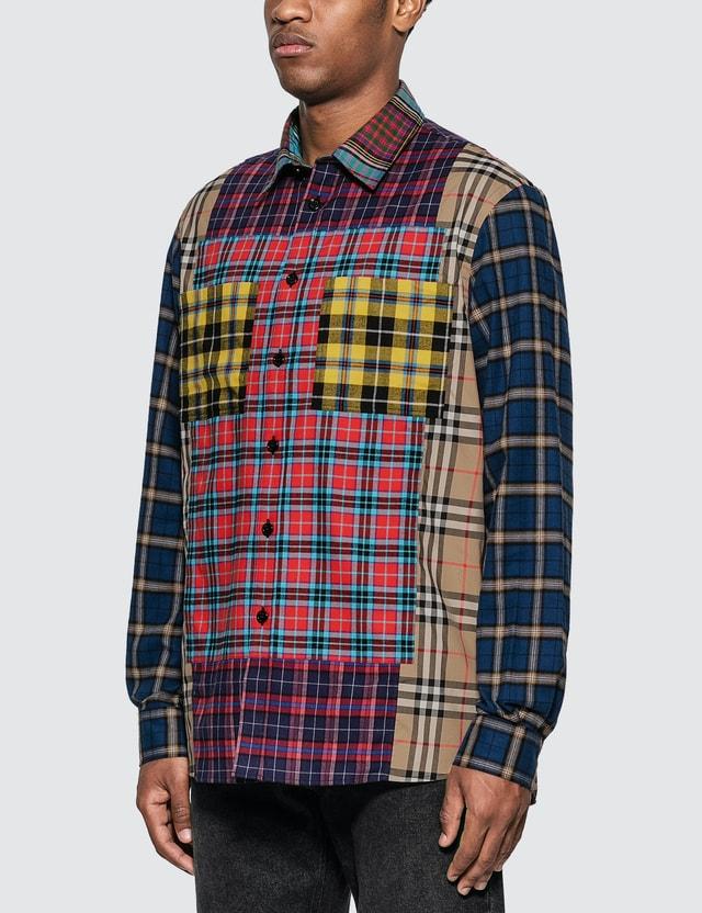 Burberry Multicolor Check Shirt Navy Pattern Men