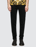 Versace Black Jeans With Feather Print Back Pockets Picture