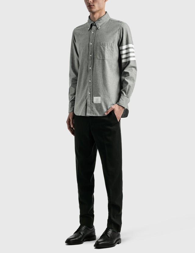 Thom Browne 4-Bar Chambray 셔츠 Med Grey Men