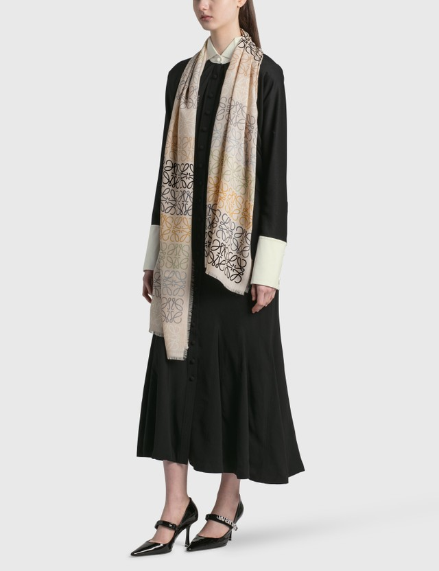 Loewe Anagram Lines Scarf In Wool And Cashmere