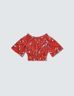 MSGM Leaf Graphic Printed Blouse