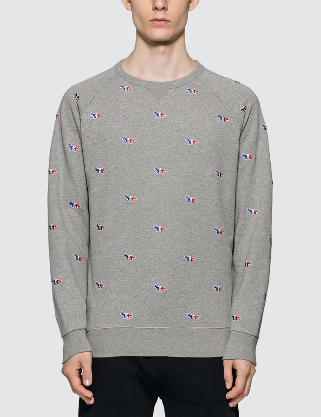 Maison Kitsune All-over Tricolor Fox Embroidery Sweatshirt
