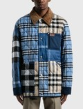 Burberry Corduroy Collar Patchwork Check Cotton Overshirt Picture