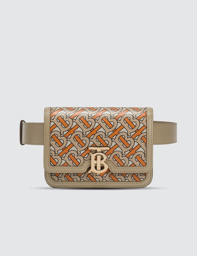 Burberry Belted Monogram Print Leather TB Bag