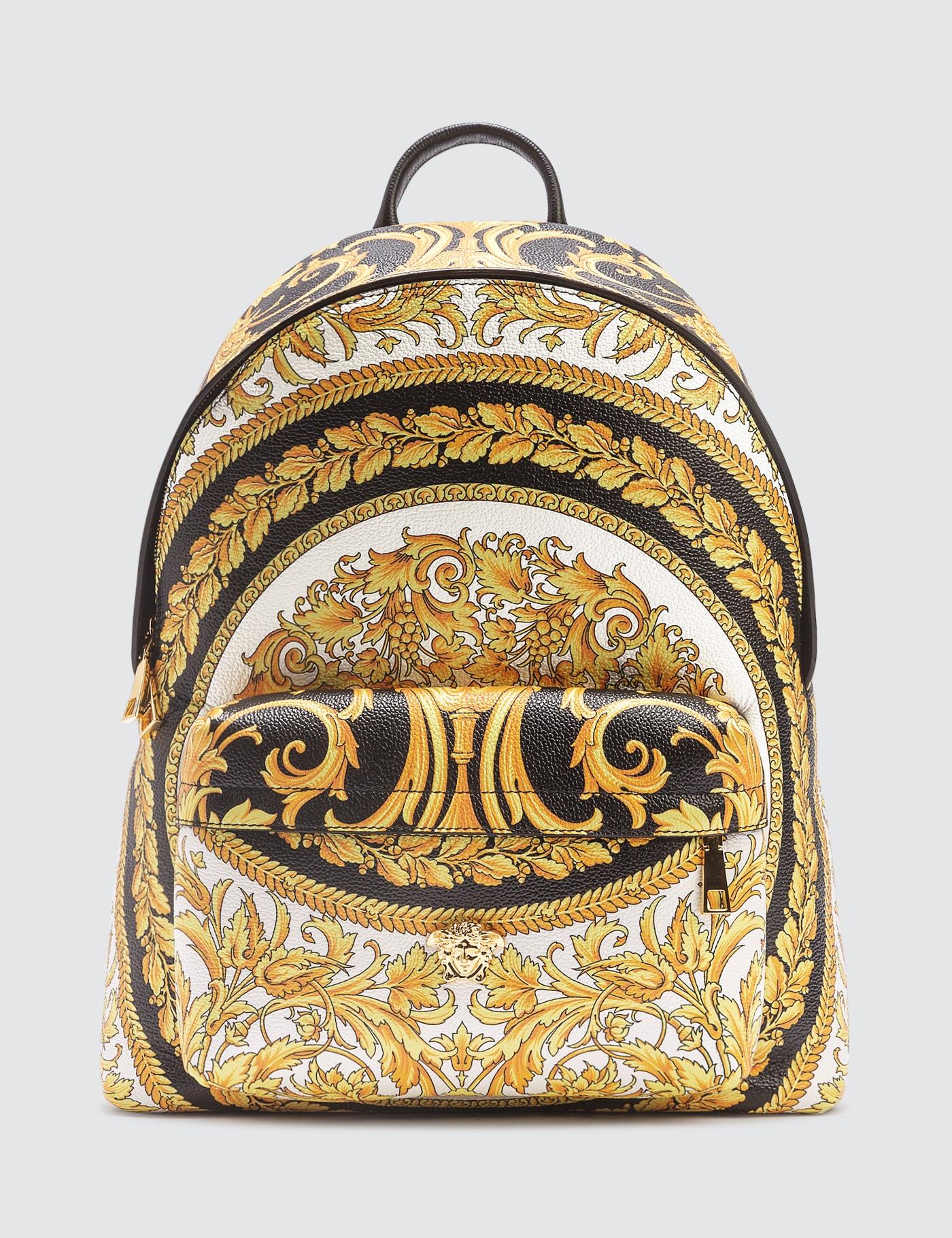 Gold Barocco Print Backpack