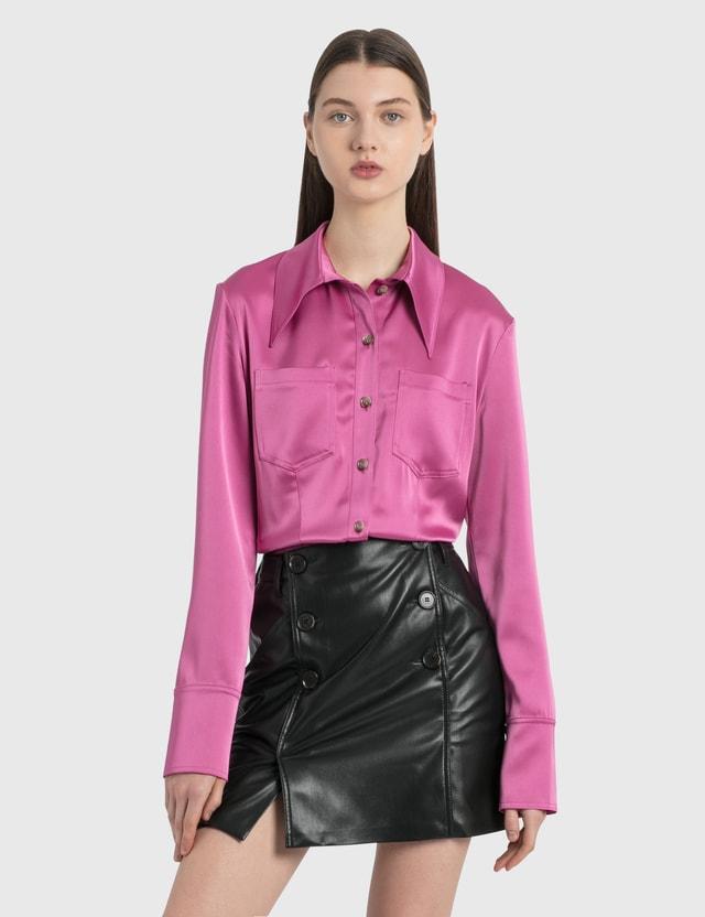 Nanushka Tippi Slip Satin Shirt Pink Women