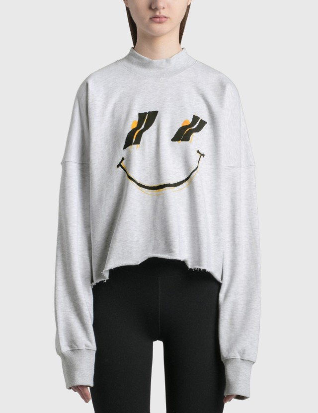 We11done Smiley Raw Edge Sweatshirt Grey Women