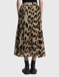 Ganni Pleated Georgette Skirt Maxi Leopard Women