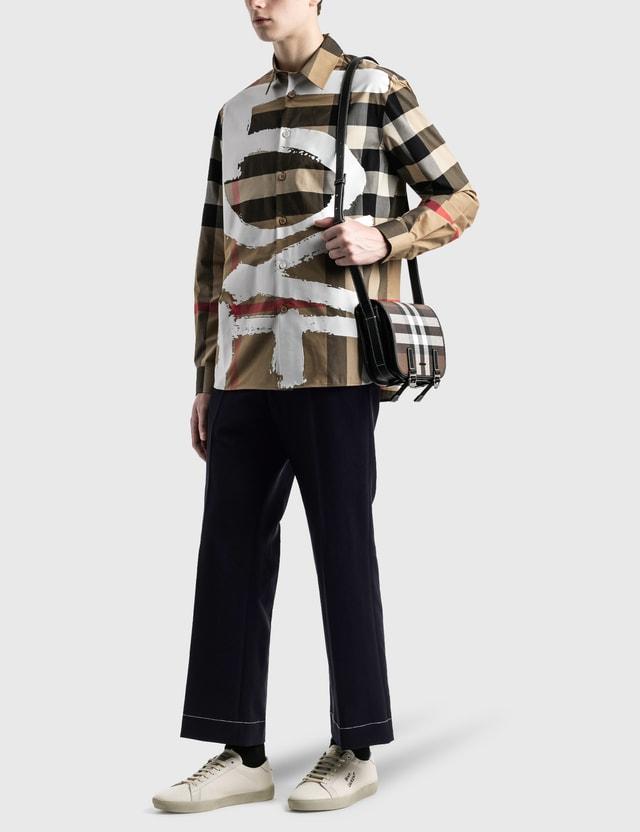 Burberry Love Print Check Stretch Cotton Oversized Shirt
