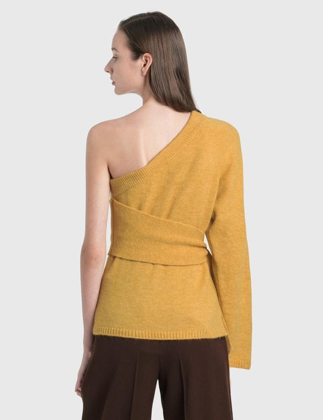 Nanushka Cleto Cold Shoulder Knit Pullover Yellow Women