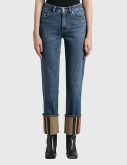 Burberry Straight Fit Striped Cuff Washed Jeans