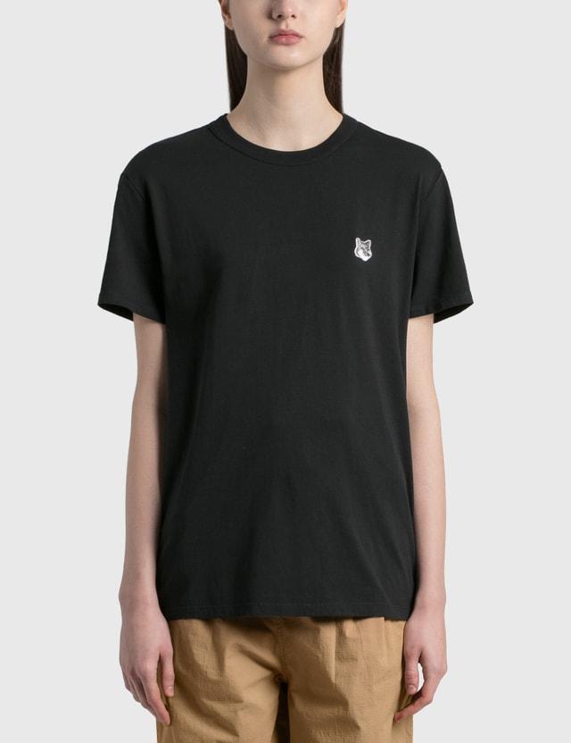 Maison Kitsune Grey Fox Head Patch Classic T-shirt Black Bk Women