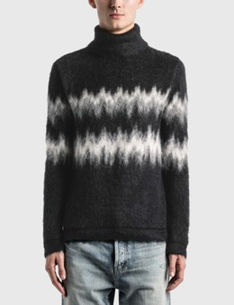 Saint Laurent Brushed Knit Turtleneck Sweater In Mohair Intarsia