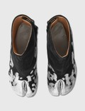 Maison Margiela Tabi Suede Silver Foil Ankle Boots Silver/black Women