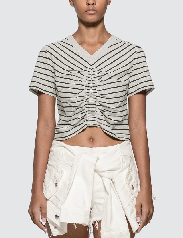 Alexander Wang.T Wash & Go Stripe Ruched Crop T-shirt