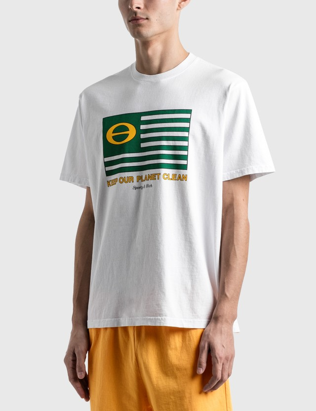 Sporty & Rich Ecology Flag T-Shirt White/green Print Men