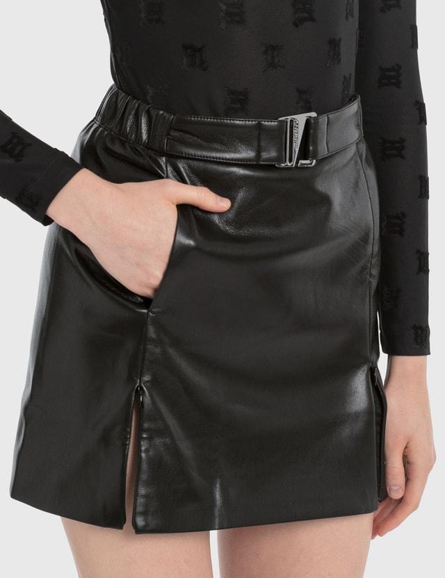 Misbhv Black Vegan Leather Mini Skirt Black Women