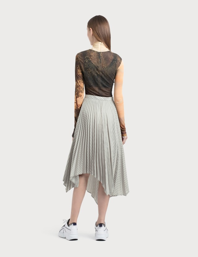 Acne Studios Ilia Stripe Asymmetric Pleated Midi Skirt