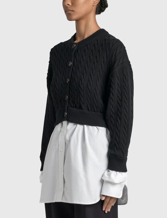 Alexander Wang.T Bi-layer Cable Cardigan with Oxford Shirting Black/white Women
