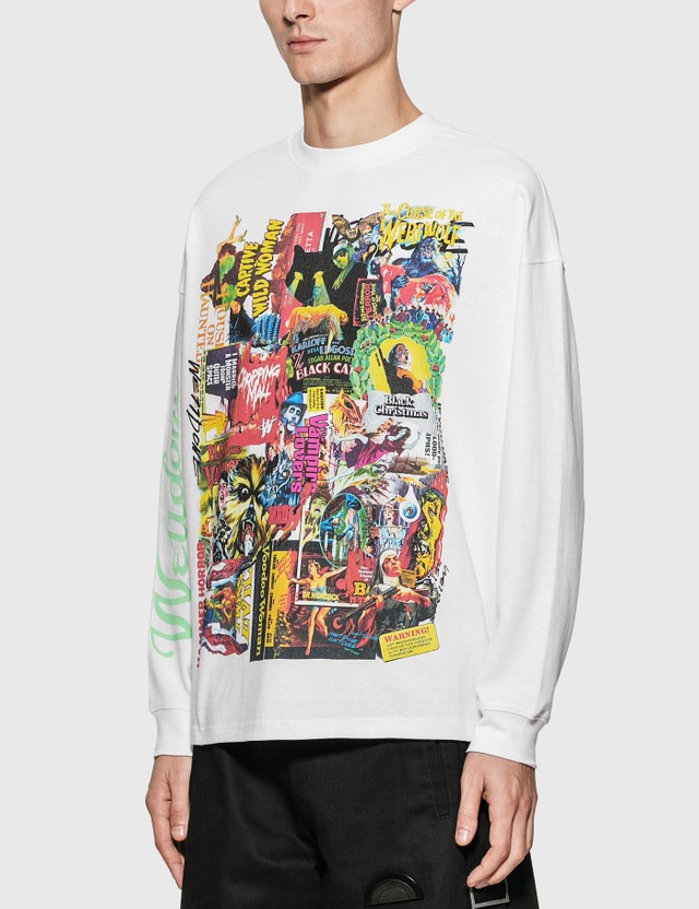 We11done Horror Collage Long Sleeve T-Shirt White Men