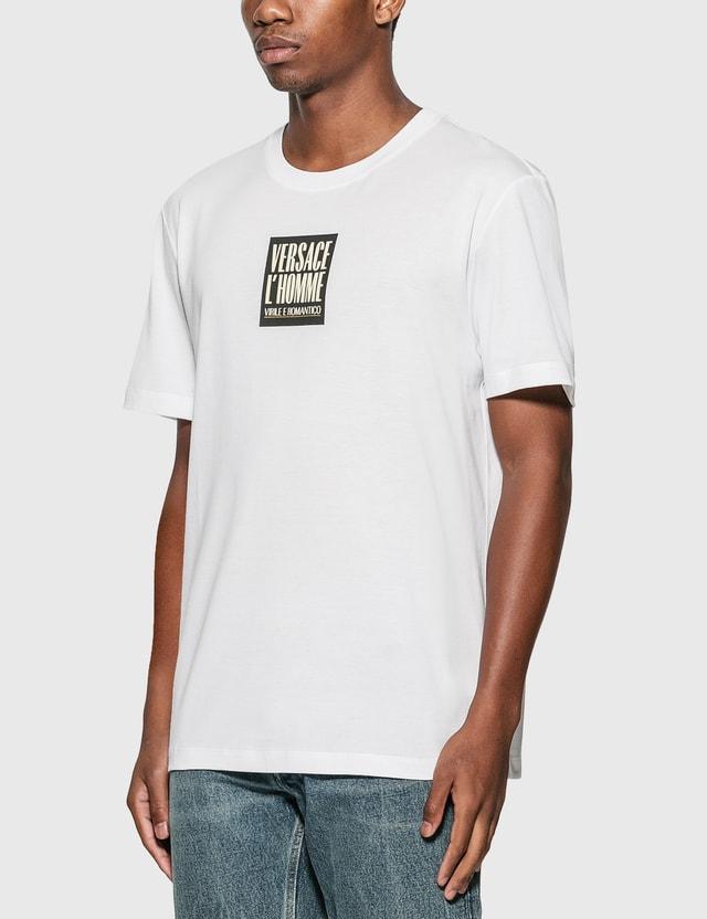 Versace L'Homme 모티프 티셔츠 Bianco Ottico Men
