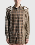 Burberry Contrast Check Cotton Flannel Reconstructed Shirt Picutre