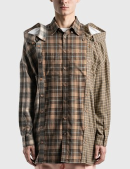 Burberry Contrast Check Cotton Flannel Reconstructed Shirt