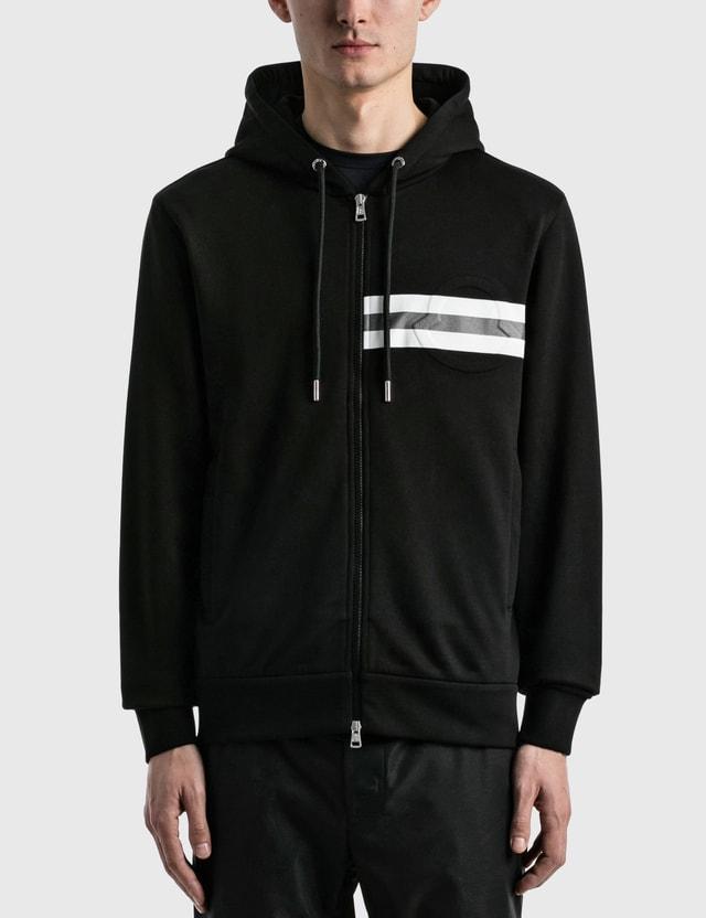 Moncler Striped Zip Hoodie Black Men