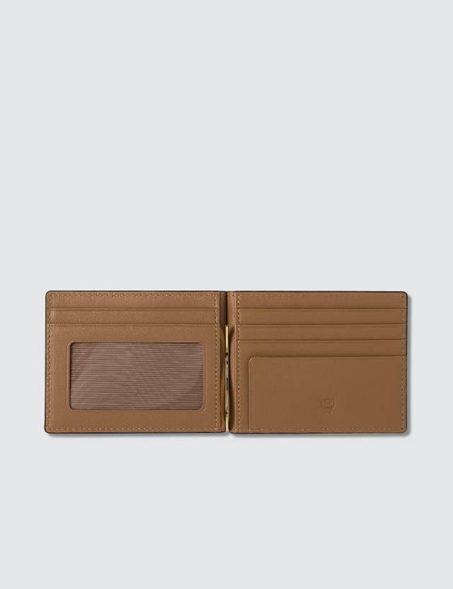 MCM Visetos Original Money Clip Fold Wallet