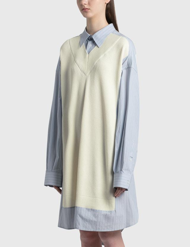 Maison Margiela Spliced Knit Shirt Dress Light Sky With White Stripe Women
