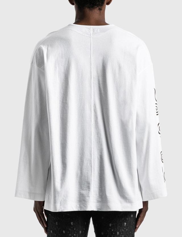 "Sasquatchfabrix. ""CHICHIN-PUI-PUI"" Flare Cutsewn Long Sleeve T-shirt White Men"