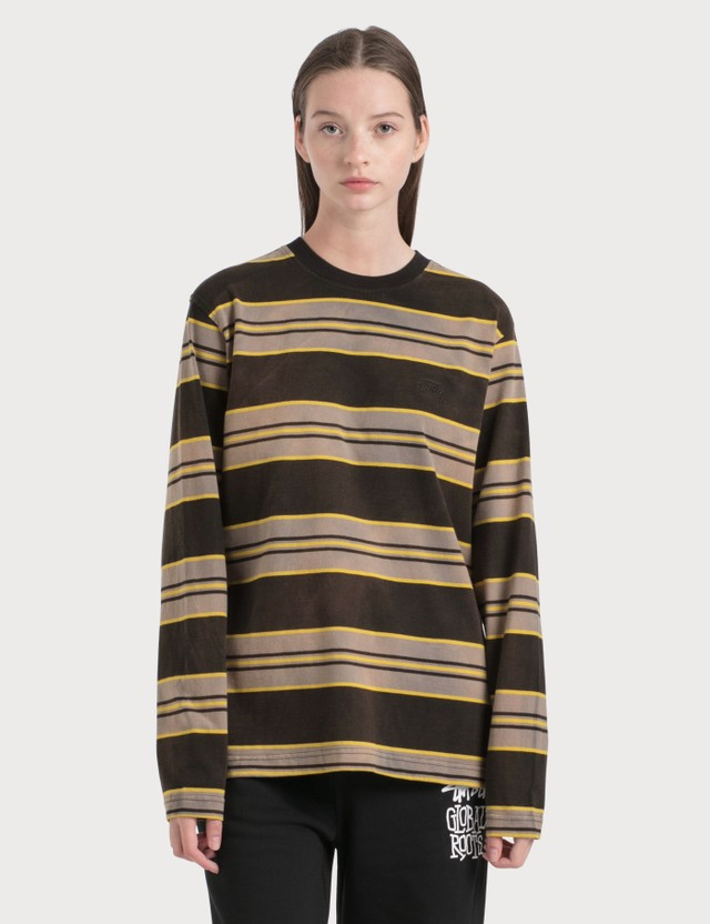 Stussy Bleach Stripe Long Sleeve T-Shirt Black Women