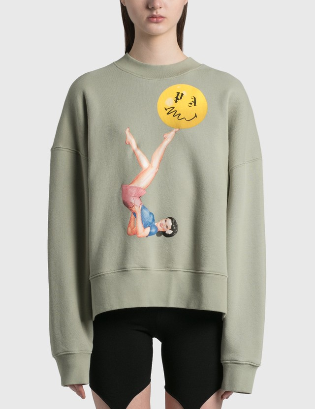 Palm Angels Juggler Pin Up Crewneck Stone Pink Women