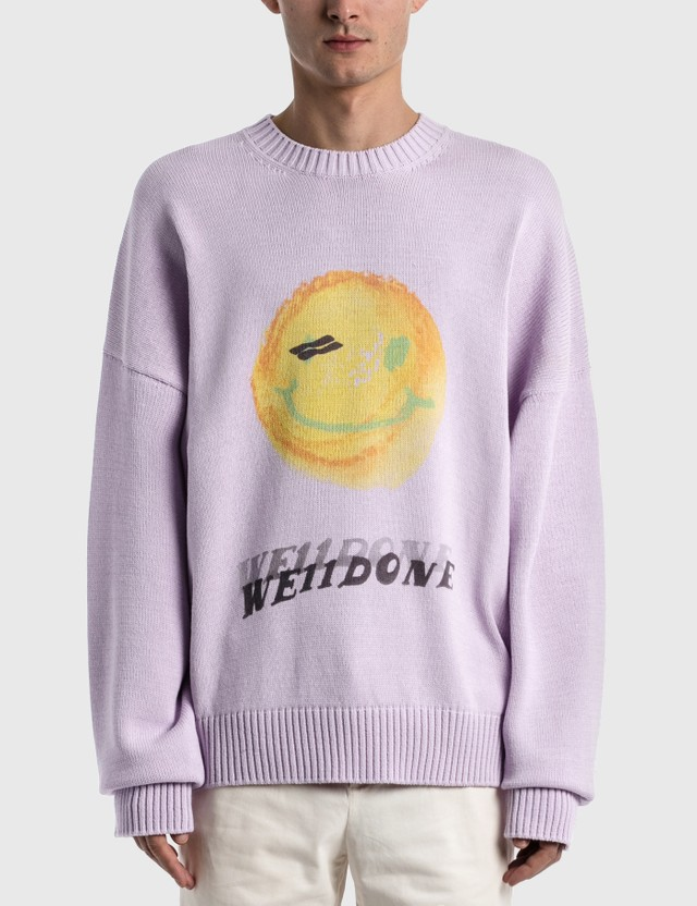 We11done Printed Knit Sweater Pink Men