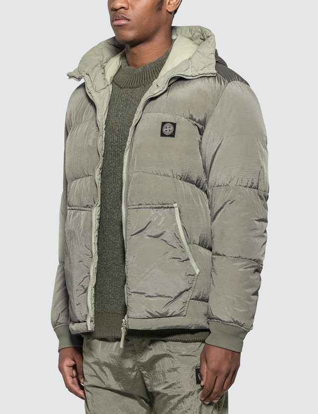 Stone Island Nylon Ripstop Hooded Down Jacket
