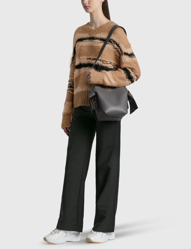 Acne Studios Keren Irregular Stripe Knit Pullover Camel/black Women
