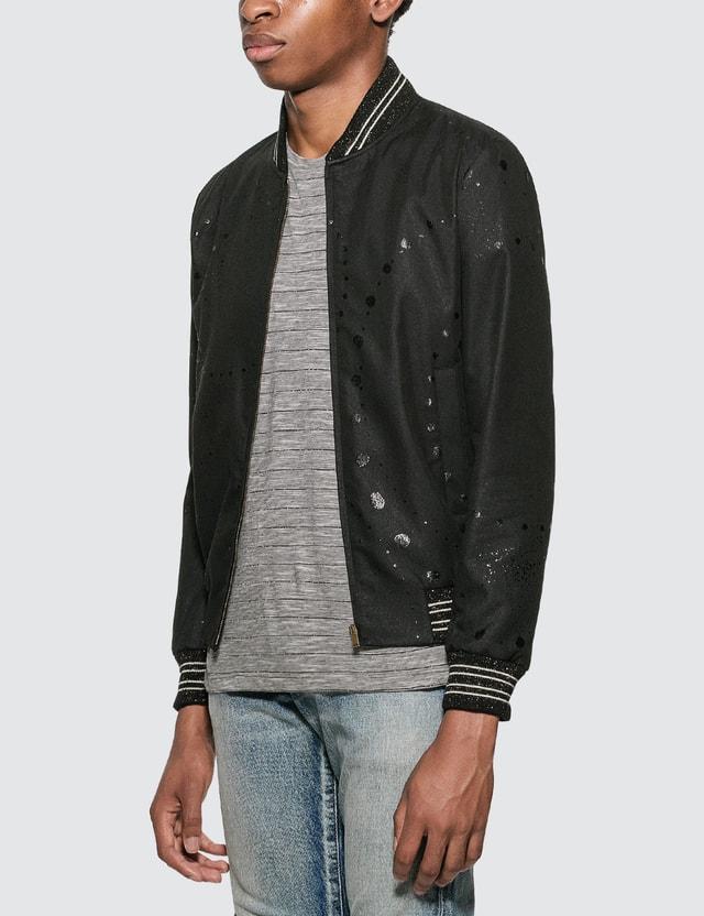 Saint Laurent Galaxy Print Teddy Jacket Black Men