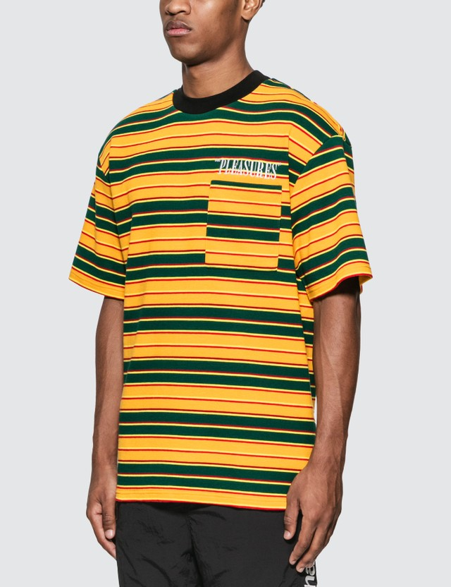 Pleasures Chainsmoke Stripe T-Shirt Yellow/ Green Men