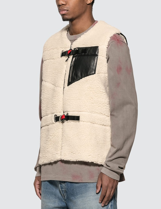John Elliott Boulder Polar Fleece Vest Ivory Men