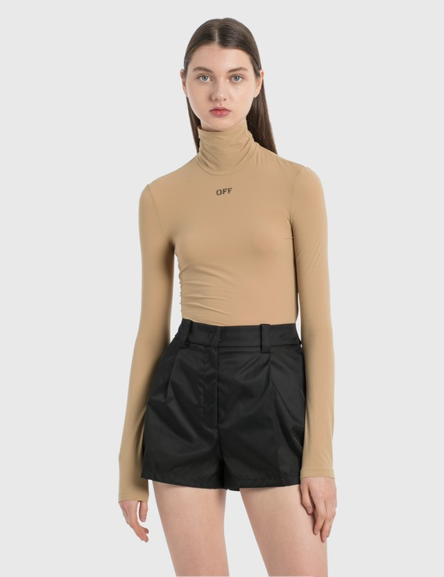 Off-White High Neck Long Sleeve Top