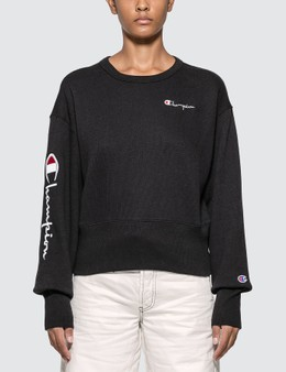 Champion Reverse Weave Big Sleeve Script Cropped Sweatshirt