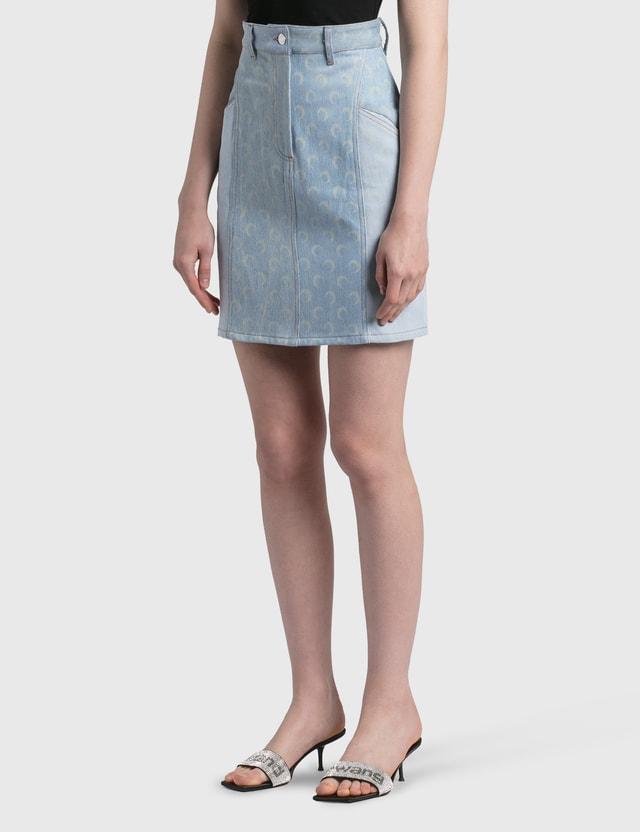 Marine Serre Regenerated Denim Skirt 06 Light Medium Blue Women
